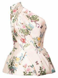 Monique Lhuillier one-shoulder floral print blouse - Pink