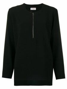 Alberto Biani zip front flared blouse - Black