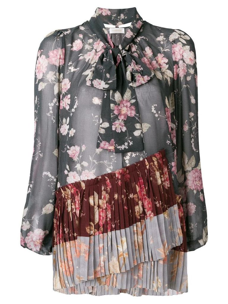 Zimmermann Unbridled pleated blouse - Grey