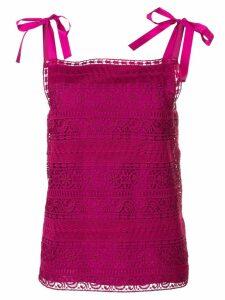 Alberta Ferretti crochet bow top - Pink