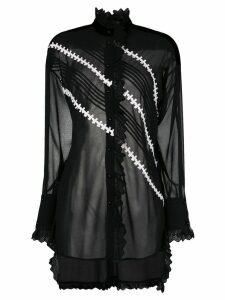 Philosophy Di Lorenzo Serafini lace trim sheer blouse - Black