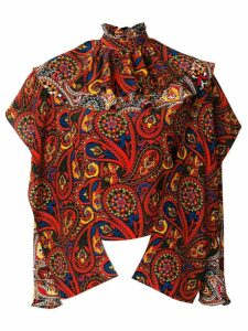 JW Anderson olive paisley-print ruffle top - Multicolour