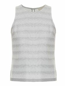 Framed striped tweed tank top - White