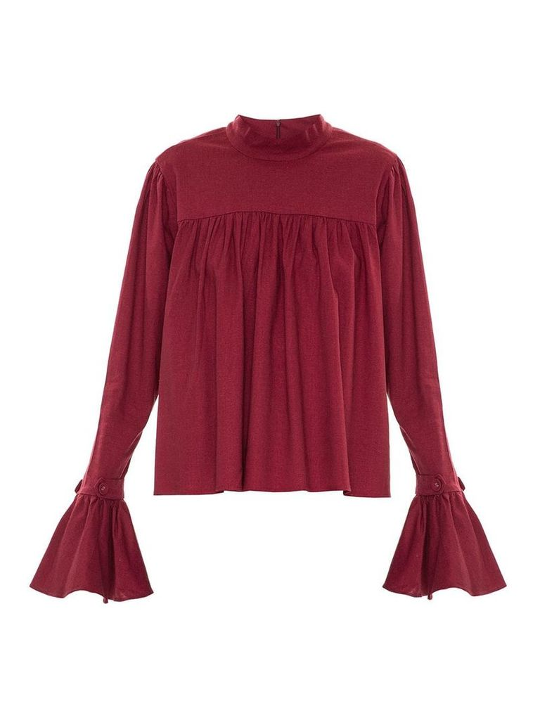 Framed ruffled blouse - Red