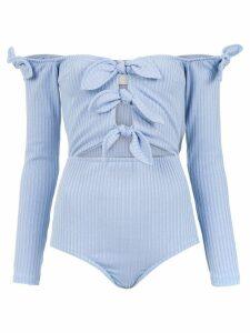 Framed Knots bodysuit - Blue