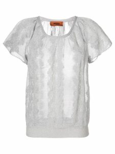 Missoni embroidered short-sleeve top - Grey