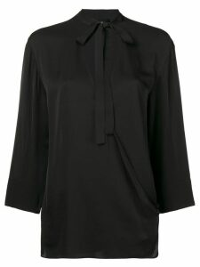 Theory neck-tied fitted blouse - Black