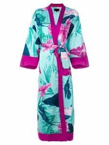 Iil7 lace up print kimono cardigan - Green
