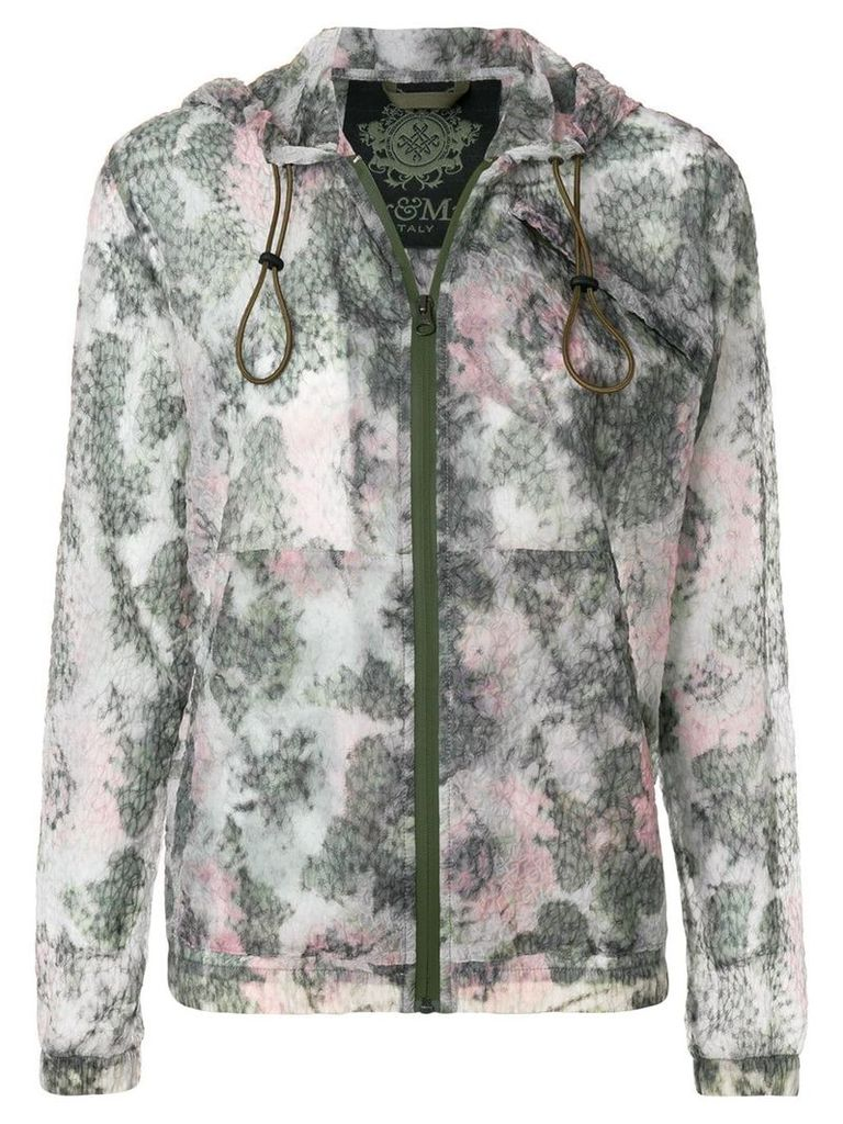 Mr & Mrs Italy textured printed zipped hoodie - Green