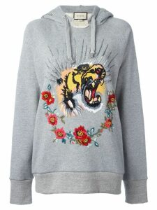 Gucci tiger embroidered hooded sweatshirt - Grey