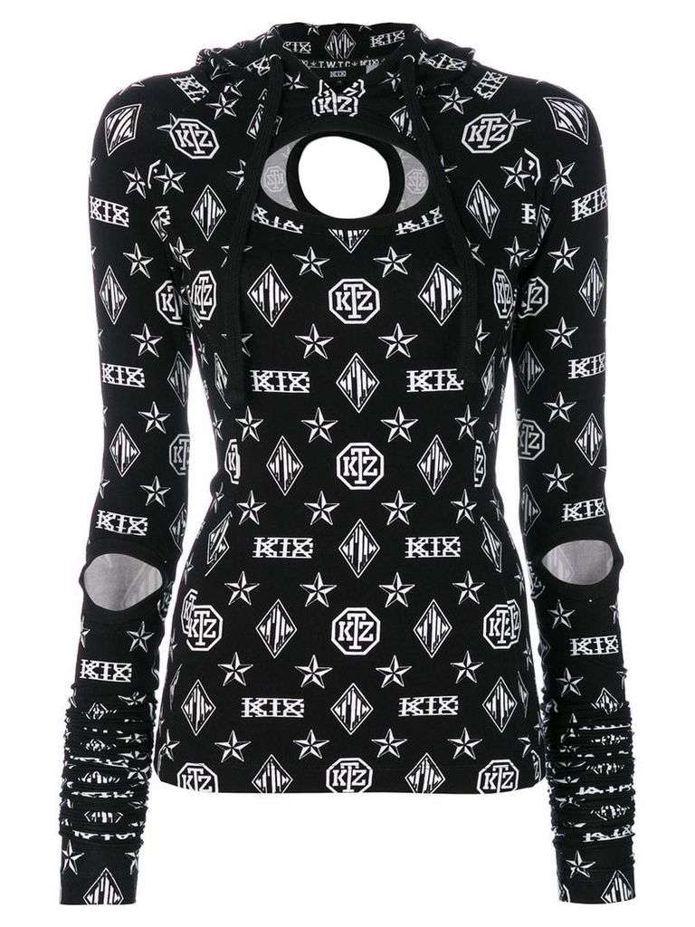 KTZ logo embroidered hooded top - Black