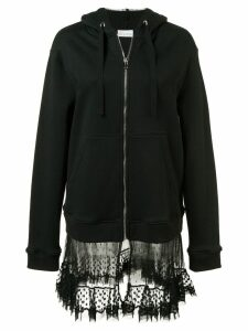Red Valentino sheer panel zipped hoodie - Black