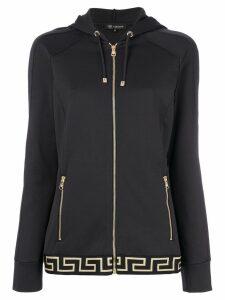 Versace border print zipped hoodie - Grey