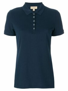 Burberry Check Trim Stretch Cotton Piqué Polo Shirt - Blue