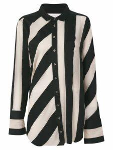 Marques'Almeida striped raw-edged shirt - Black