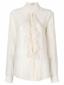 Saint Laurent ruffled lurex stripe shirt - Neutrals