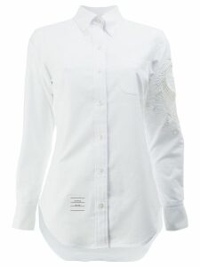 Thom Browne lace panel button-down shirt - White