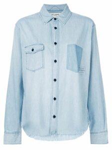 Saint Laurent logo patch denim shirt - Blue
