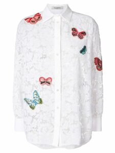 Valentino embroidered butterfly lace shirt - White