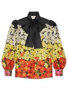Gucci Degradé flowers silk twill shirt - Black