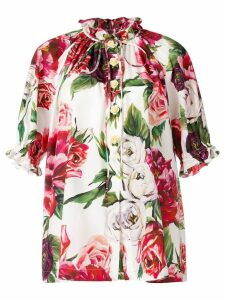 Dolce & Gabbana peony print mandarin collar shirt - Pink