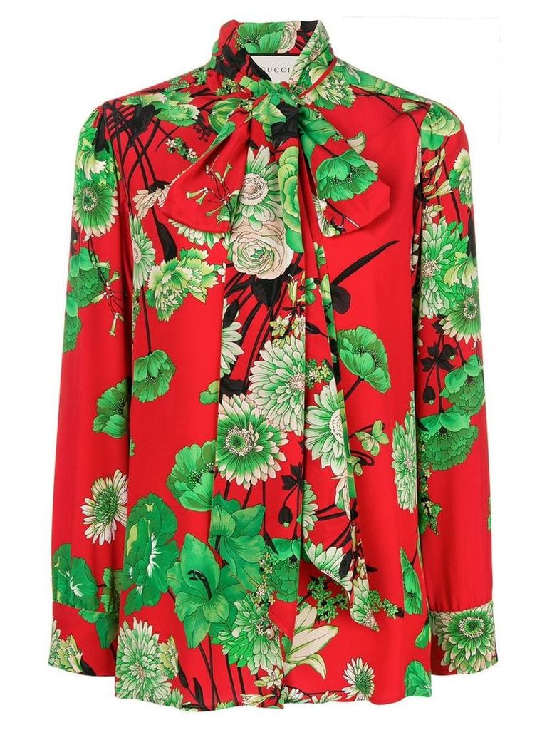Gucci floral-print crepe de chine shirt - Red