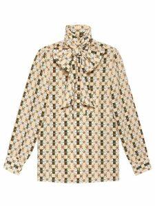 Gucci Silk shirt with Web GG print - Neutrals