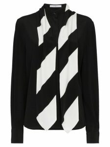 Givenchy silk stripe tie neck shirt - Black