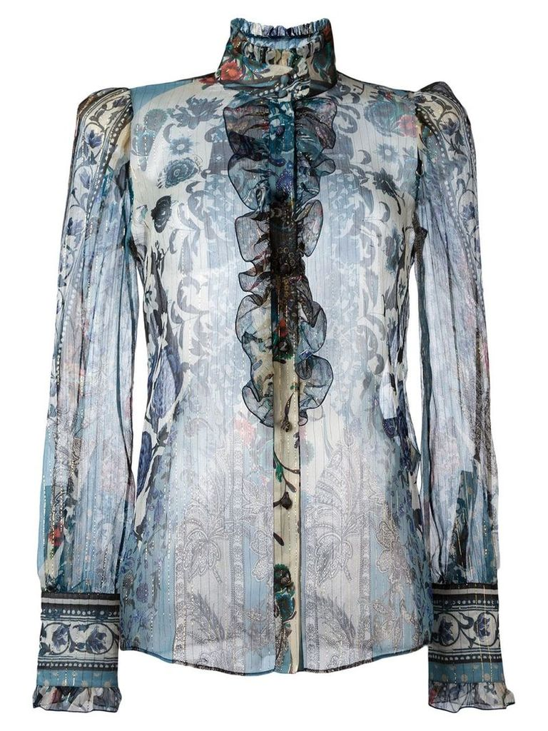 Roberto Cavalli printed sheer shirt - Multicolour