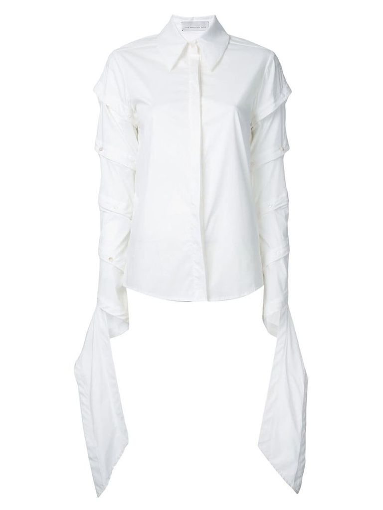 Juan Hernandez Daels draped sleeves shirt - White