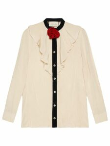 Gucci Silk shirt with ruffles - Neutrals