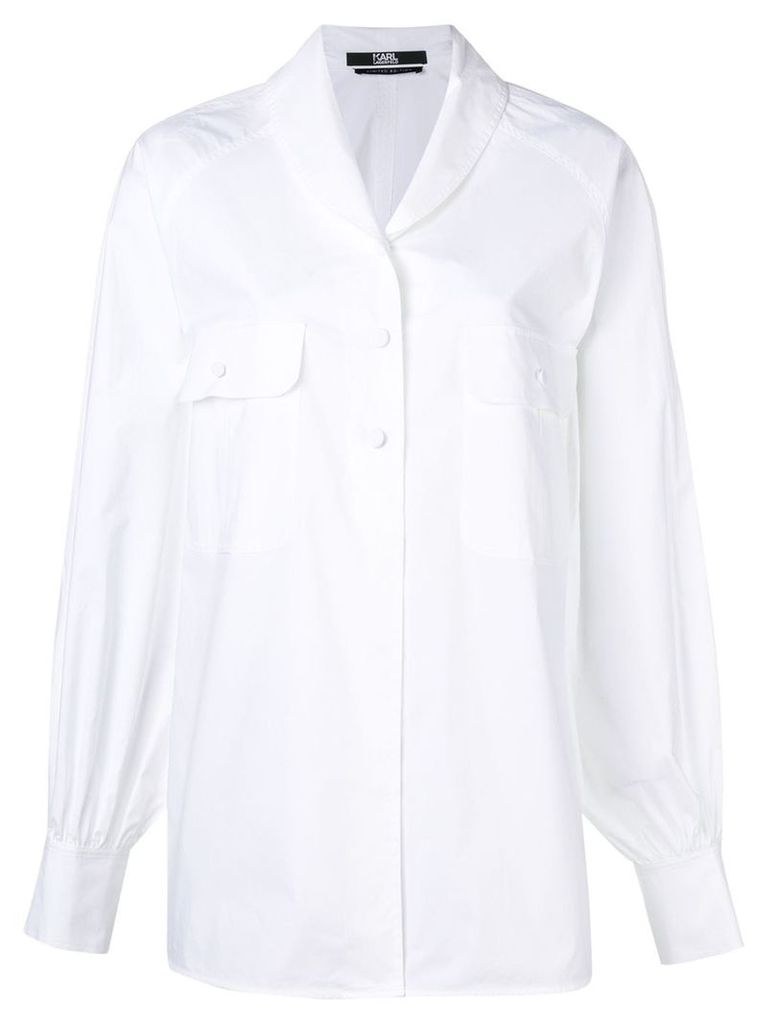 Karl Lagerfeld Karl shawl collar volume shirt - White