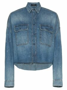 R13 cropped denim shirt - Blue