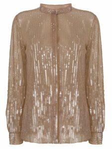 Alberta Ferretti sequin embellished shirt - Neutrals