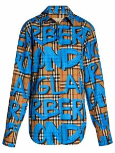 Burberry graffiti-print check shirt - Neutrals