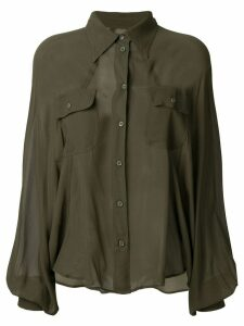Mm6 Maison Margiela sheer military style shirt - Green