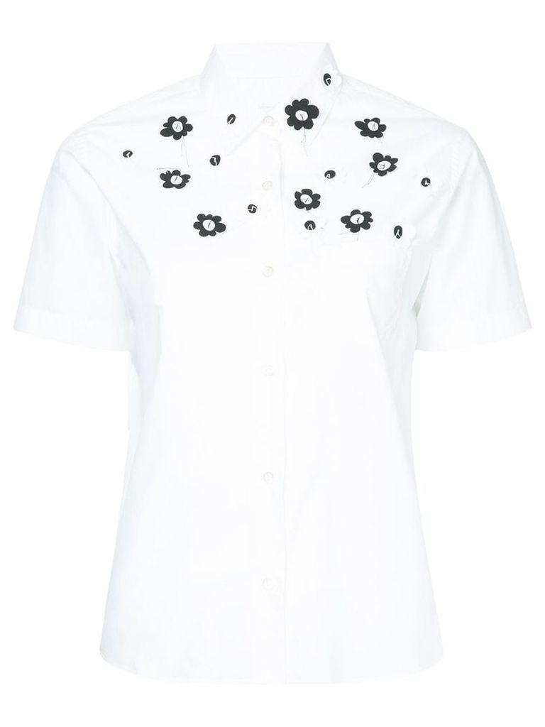 Jimi Roos appliqué flower short sleeve shirt - White