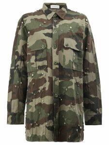 Faith Connexion distressed camouflage print long shirt - Green