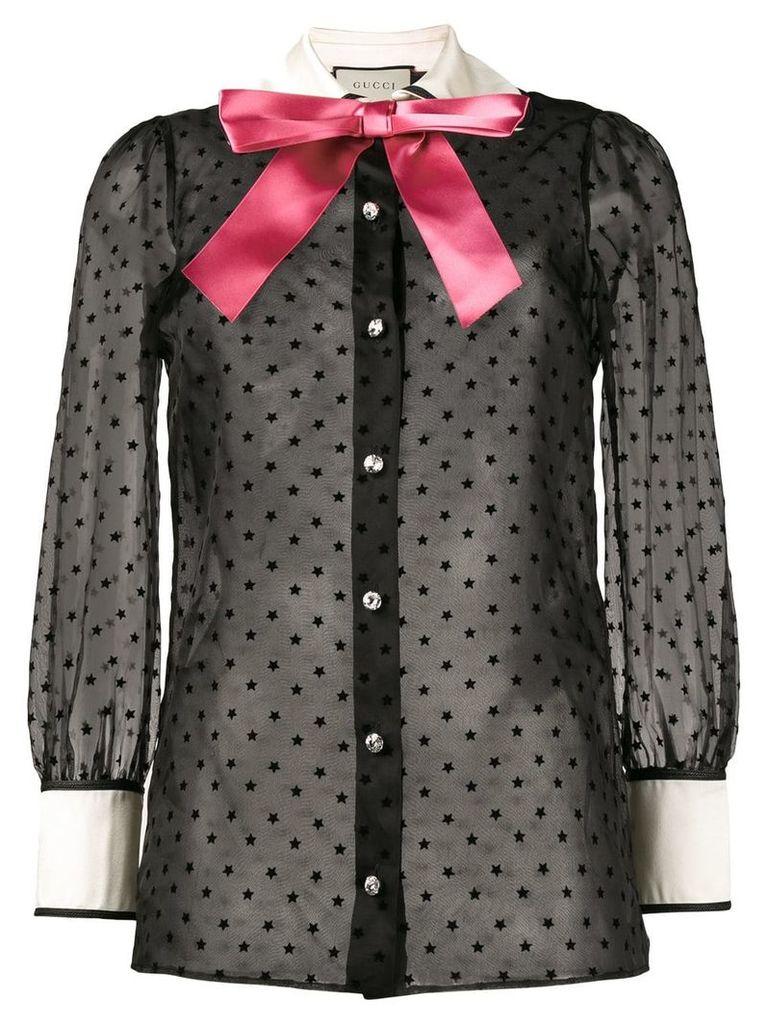 Gucci Taffeta star flock shirt with bow - Black