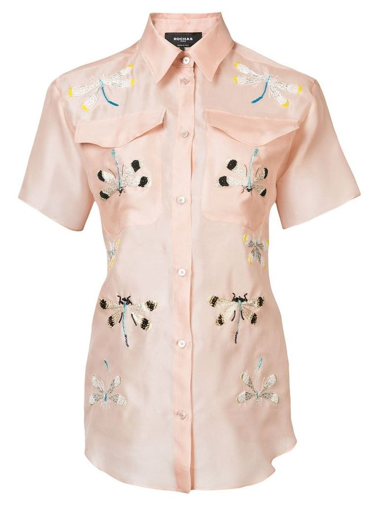 Rochas embroidered dragonfly shirt - Pink