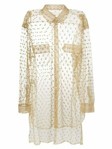 Maison Margiela sheer glitter embellished shirt - Neutrals