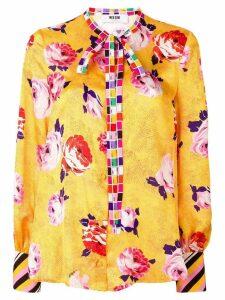 MSGM contrast trim floral blouse - Yellow