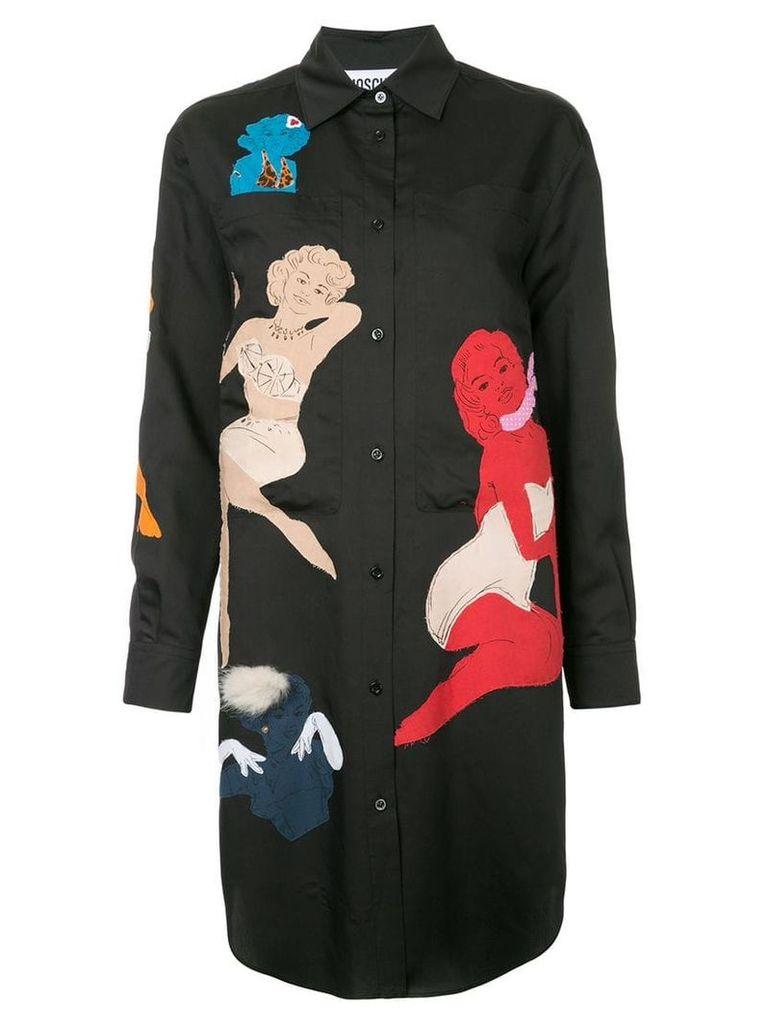 Moschino pin up embellished shirt dress - Black