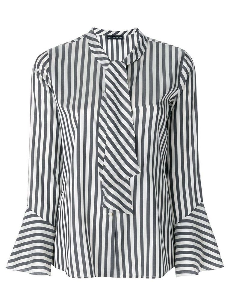 Etro striped pussy-bow shirt - Black