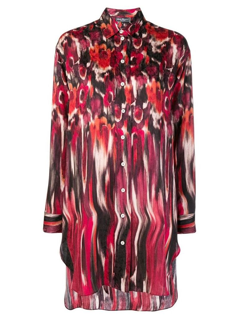 Salvatore Ferragamo printed oversized shirt - Red
