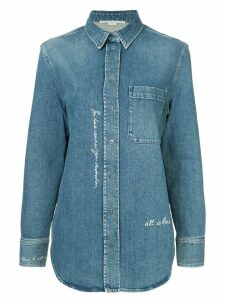 Stella McCartney slogan embroidered denim shirt - Blue