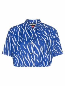 Double Rainbouu Sound Wave printed cropped cotton shirt - Blue