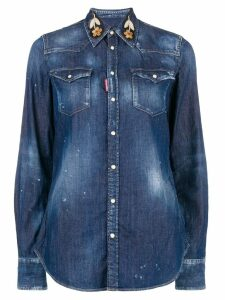 Dsquared2 embroidered collar denim shirt - Blue