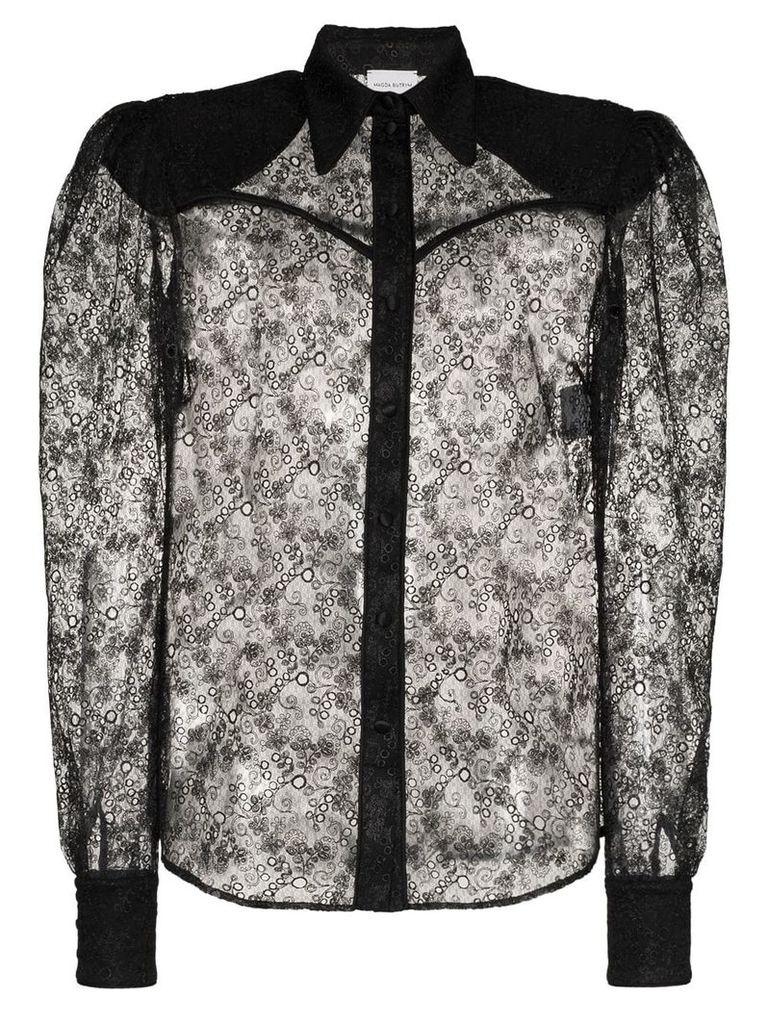 Magda Butrym Busan lace long sleeve shirt - Black