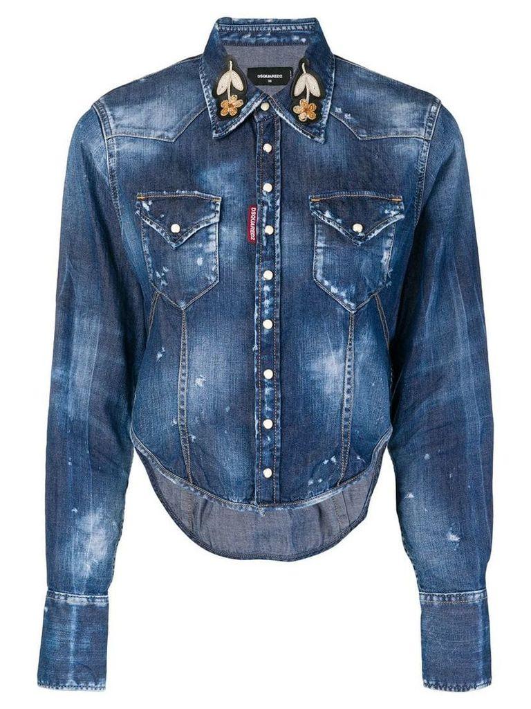 Dsquared2 distressed denim shirt - Blue